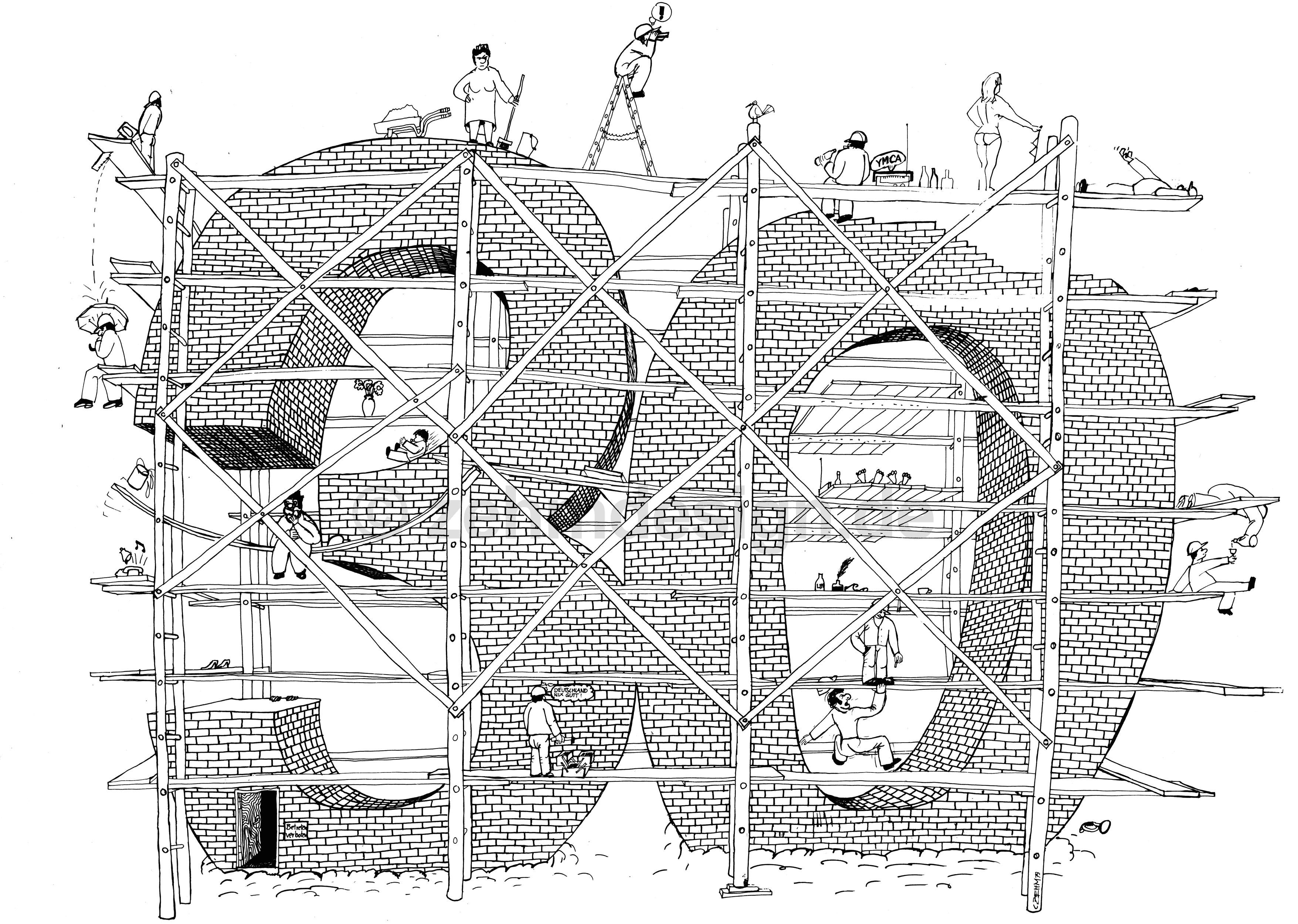 Zehm Design Cartoon Baustelle 1979
