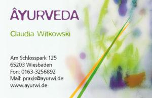 Ayurveda Praxis Visitenkarte