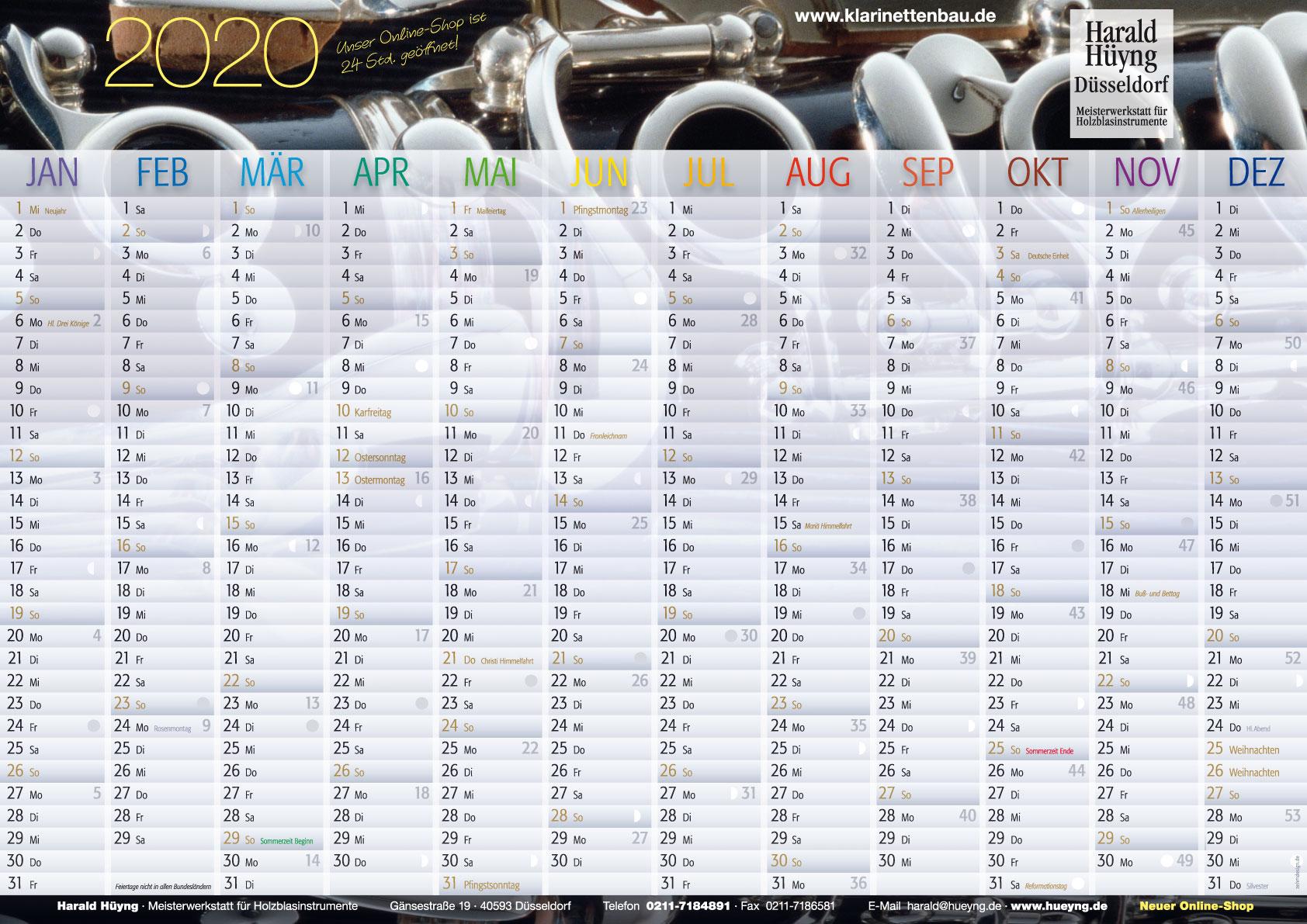 Zehm Design Kalender Harald Hüyng 2020