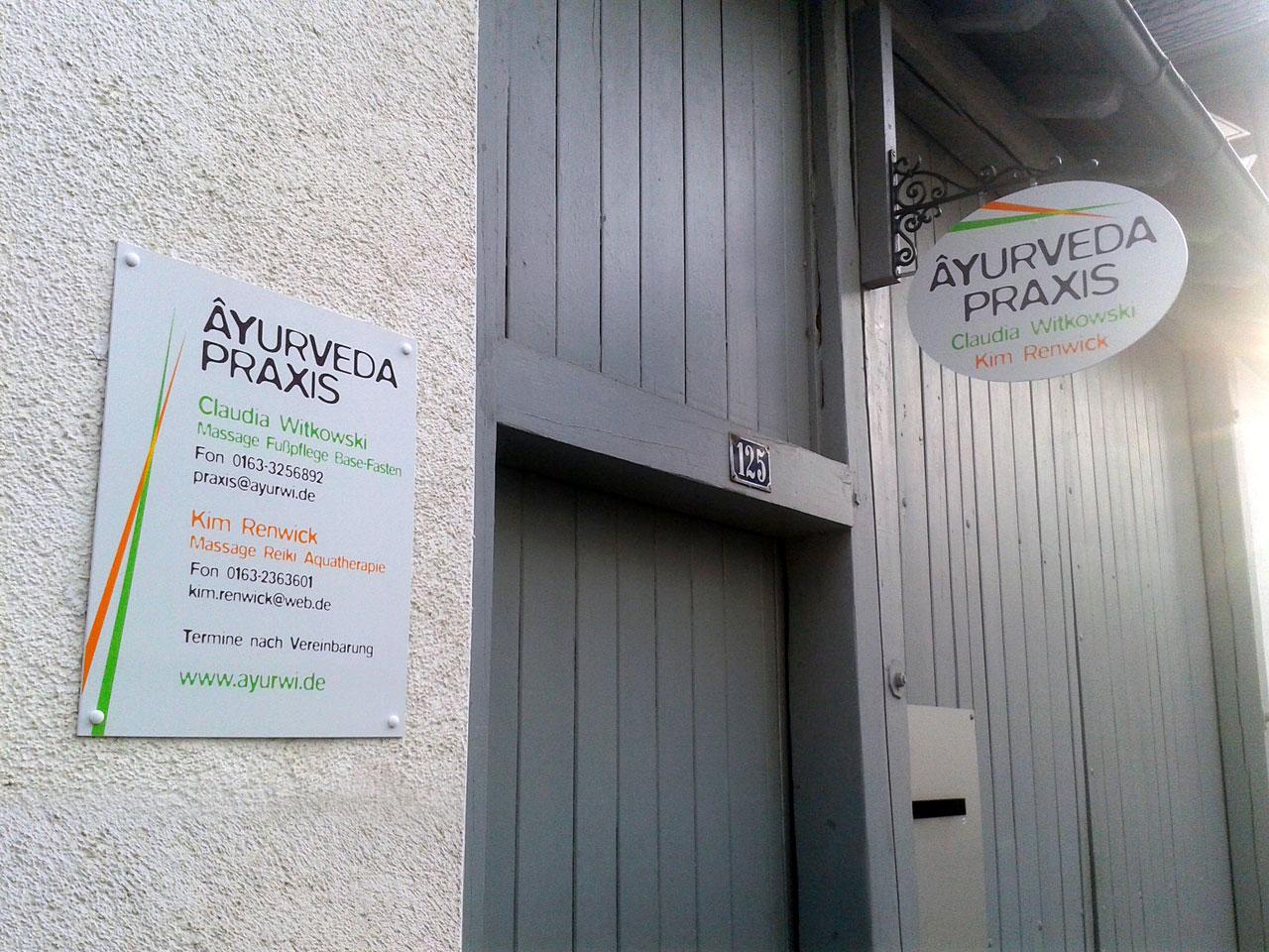 Ayurveda Praxis Schilder
